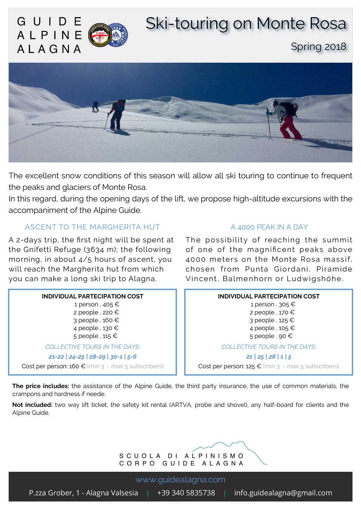 Scialpinismo con Guide Alpine Alagna | Monte Rosa Sky Shuttle